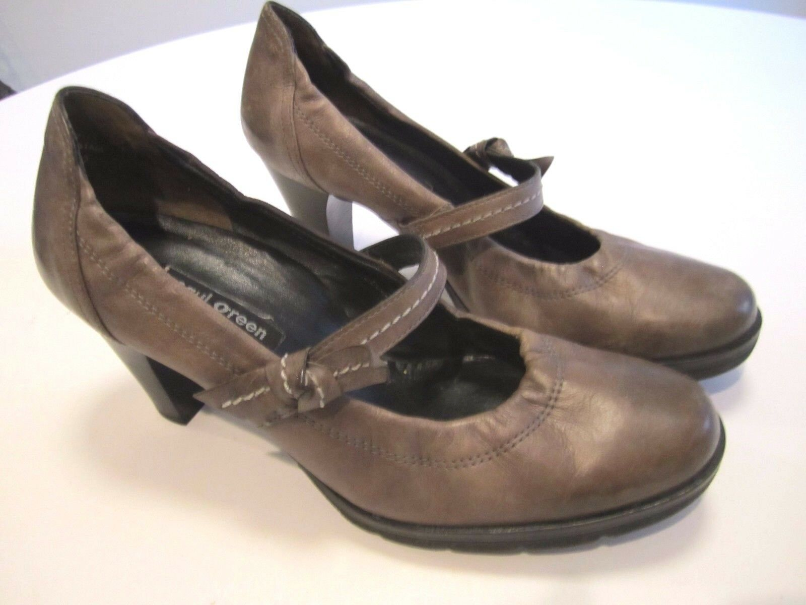 GRAY Austria 5 US7.5 EU 38 PAUL GREEN DAHLIA STACKED HEEL MARY JANE pump +BOX