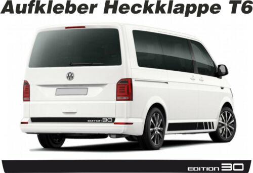 VW T6 Aufkleber Heckklappe Edition 30 Wunschfarbe Bus Dekor Decal