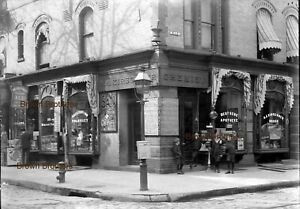 1900s W4th St Drugstore w/ Mathews Soda Fountain Photo Glass Camera Negative #2