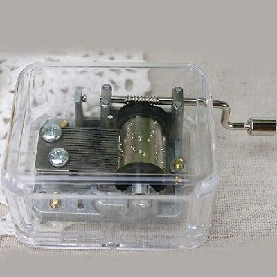 Hand Crank Transparent Fur Elise Birthday Xmas Gift Music Box Kids Toy