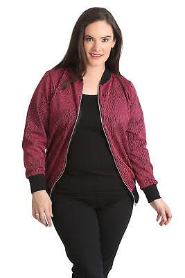 New Ladies Plus Size Bomber Jacket Womens Ribbed Sale Zip Varsity Nouvelle 14-28