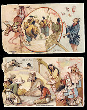 Arbuckle Coffee Lot of 2 1893 Trade Card Sports & Pastimes Mexico & Japan 30 34