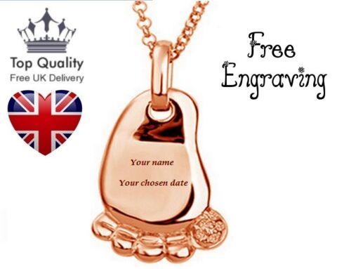 UK 1. Personalisiert Kinder Fuß Kostenlose Gravur Name Halskette Rosegold