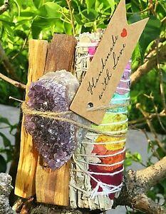 Meditation-Kit-Smudge-and-Crystals-selenite-Amethyst-Palo-Santo-7-chakra-sage
