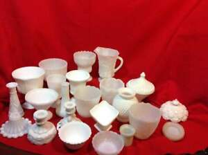 Milk-Glass-Vases-Candlesticks-Candy-Dishes-Pitchers-Covers-Bowls-etc