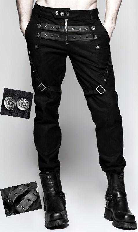 Pantalon gothique punk steampunk militaire sangles sangles militaire cuir boutons PunkRave homme 3dc63b