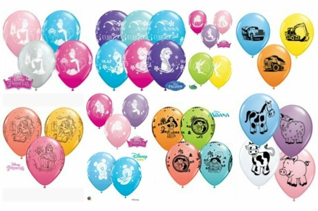 "6 Qualatex Helium/Air 11"" Printed Children's Designs Latex Balloons Party"