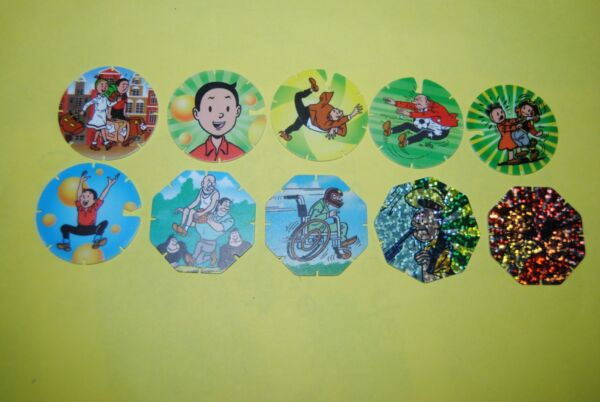 025 Pogs Pog Caps Milkcaps Flippo : Lot De 10 Strippies Bob Et Bobette