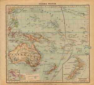 Cartina Geografica Antica.Carta Geografica Antica Oceania Australia Nuova Zelanda Paravia 1941 Antique Map Ebay
