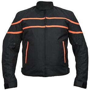 Tessile Giacca Moto con protezioni Biker Custom vento di tenuta nero/rosso  </span>