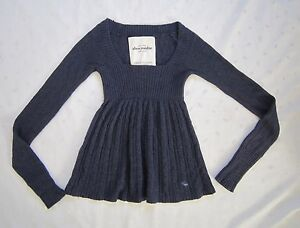 Abercrombie and Fitch Girls Square Neck Dark Blue Tunic Sweater  Juniors Size XL