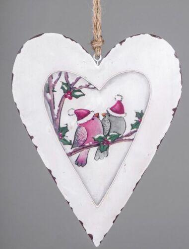 Nostalgischer Dekohänger Herz weiß mit Vogelmotiv von Formano 20 cm