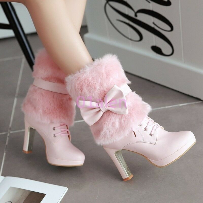 Womens Fur Furry Bowknot Sweet candy ANkle Winter Boots Lace Up shoes Lolita 4-9