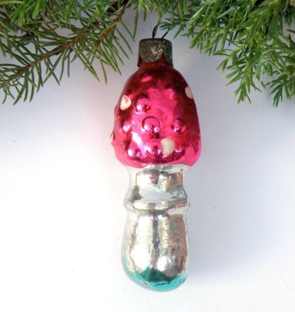 Red mushroom Fungus Glass Christmas ornament Amanita Russian decoration Soviet