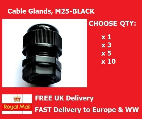 12-15mm, Cable Gland, M25, BLACK, Complete w/ Locknut & Washer, QTY: 1, 3, 5, 10