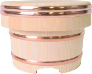 Wooden Rice jar Ohitsu Tub Edobitsu 3Go Sawara 21cm x 14cm