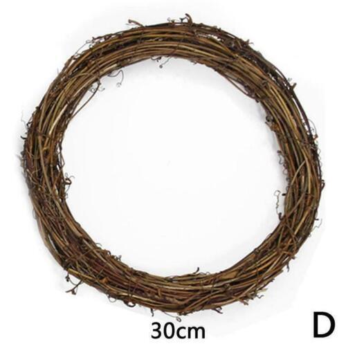 10//15//20//30cm Wicker Garland Hanging Wreath Rattan Party Wreath Wedding J9T8