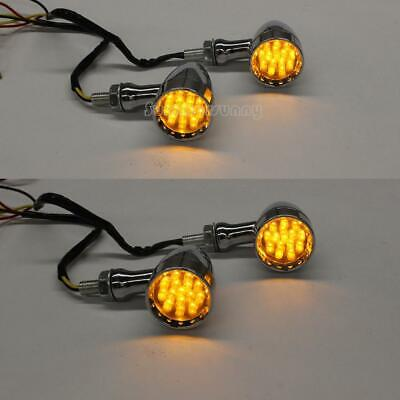 12V Chrome Aluminum 15 LEDs Red Driving Light Brake Running Turn Signals 10mm G