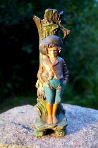 wunderschöne antike Vase Keramik Jugendstil 21 cm Junge lehnt am Baum