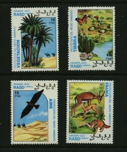 Bird-Antelope-Camels-Trees-mnh-set-of-4-stamps-1992-Western-Sahara-Environment