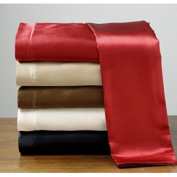 Twin Size Fancy Silk Feel Satin Pillowcase Fitted Flat Sheet Set New Solid color