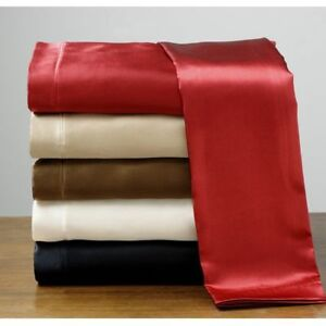 King-Size-Silk-Feel-Satin-Pillowcase-Fitted-Flat-Bed-Sheet-Set-New-Good-Value