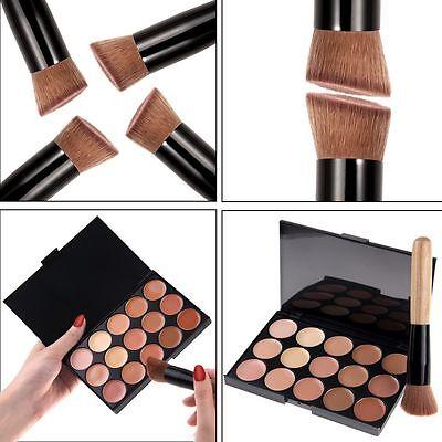 15 Colors Contour Face Powder Cream Concealer Kit Makeup Palette+ Brush set