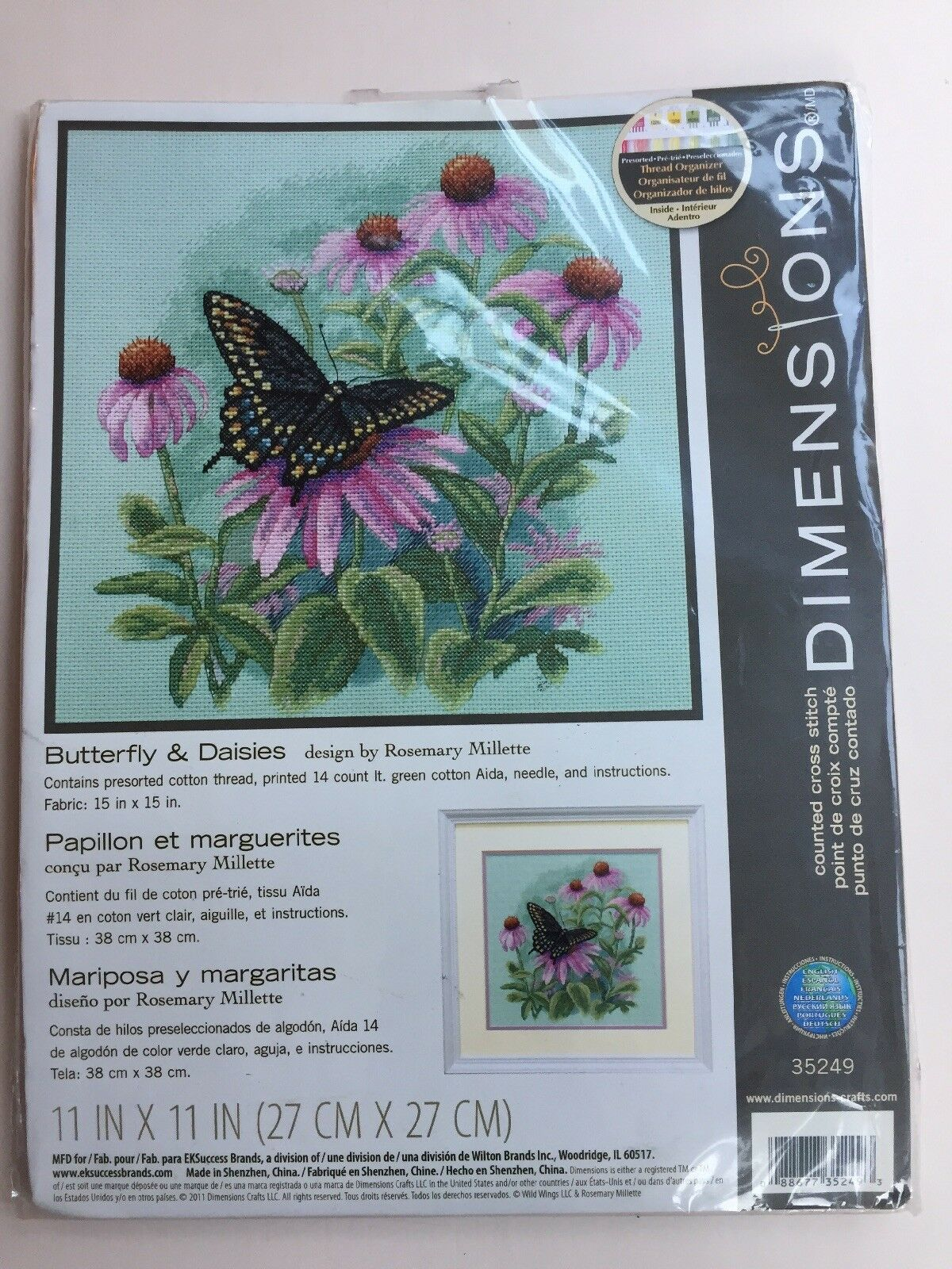 Dimensions 35249 Needlecrafts Counted Cross Stitch Butterfly and Daisies