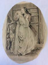 Paul-Émile Bécat scène romantique d'après Marianne de Marivaux 1953 mine plomb