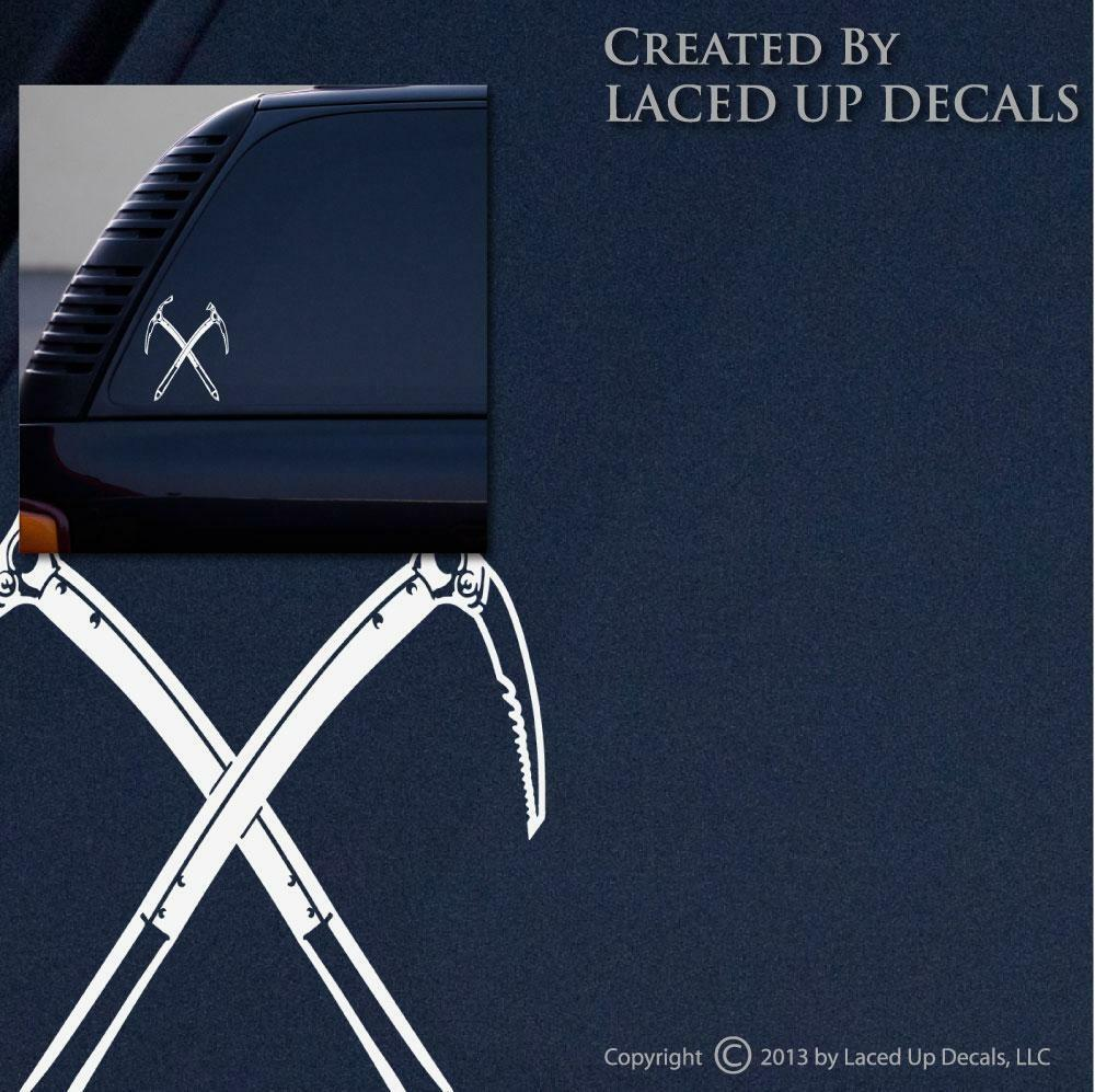 Crossed Ice Axes Vinyl Decal axe,pick,climbing,rock,mountaineering,sm