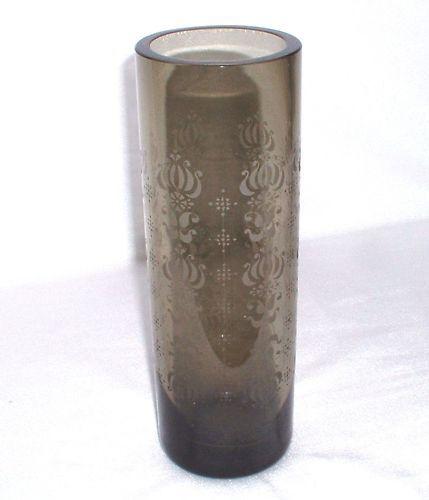 Rosanthal - schlanke Rauchglasvase mit mit mit Ätzdekor - 24 cm bdd03c