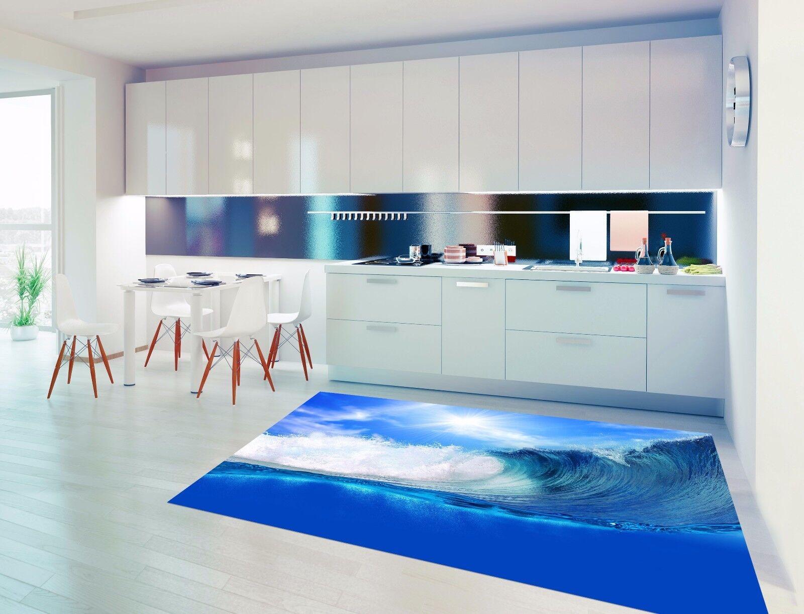 3D bluee Waves 828 Kitchen Mat Floor Murals Wall Print Wall AJ WALLPAPER UK Kyra