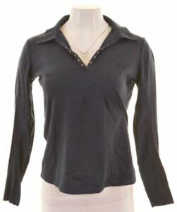 ARMANI-JEANS-Womens-Polo-Shirt-Long-Sleeve-EU-42-Medium-Navy-Blue-Cotton-LP16