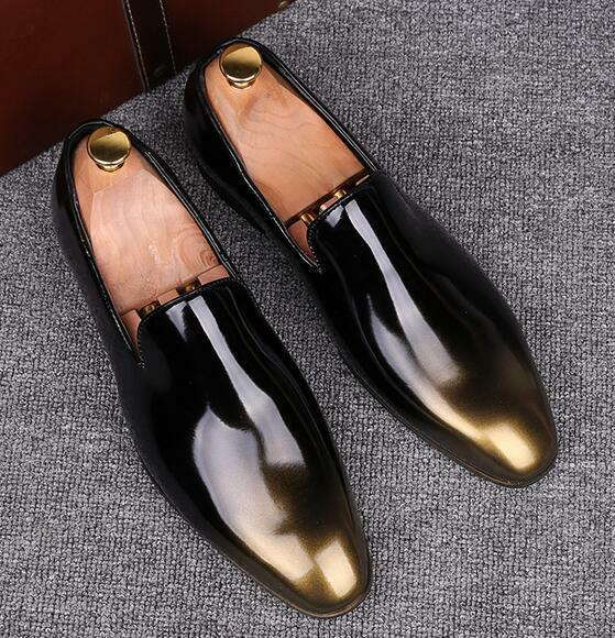 Uomo Patent Pelle Colors Formal Dress Business Shoes Loafers Slip On Fashion