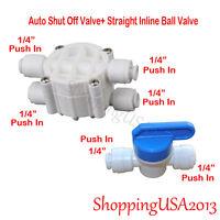 Auto Shut Off Valve 1/4 + Straight Inline Ball Valve Ro Water Filter System