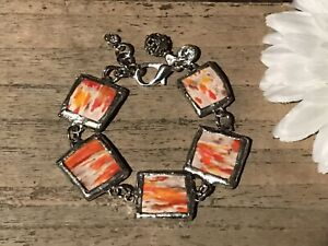 Recycled-Broken-Porcelain-Jewelry-Orange-Marble-Bracelet-SIZEABLE
