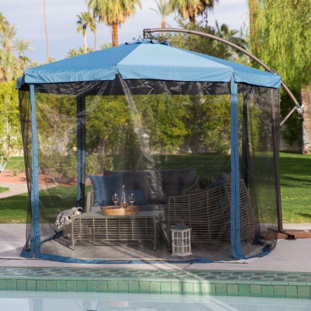 Garden Patio Umbrella With Detachable Netting Sun Protection Shade 11 Ft Offset