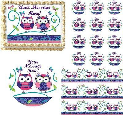 Radient Cute Patchwork Owls Edible Cake Topper Image Frosting Sheet Cake Decoration Baking Accs. & Cake Decorating
