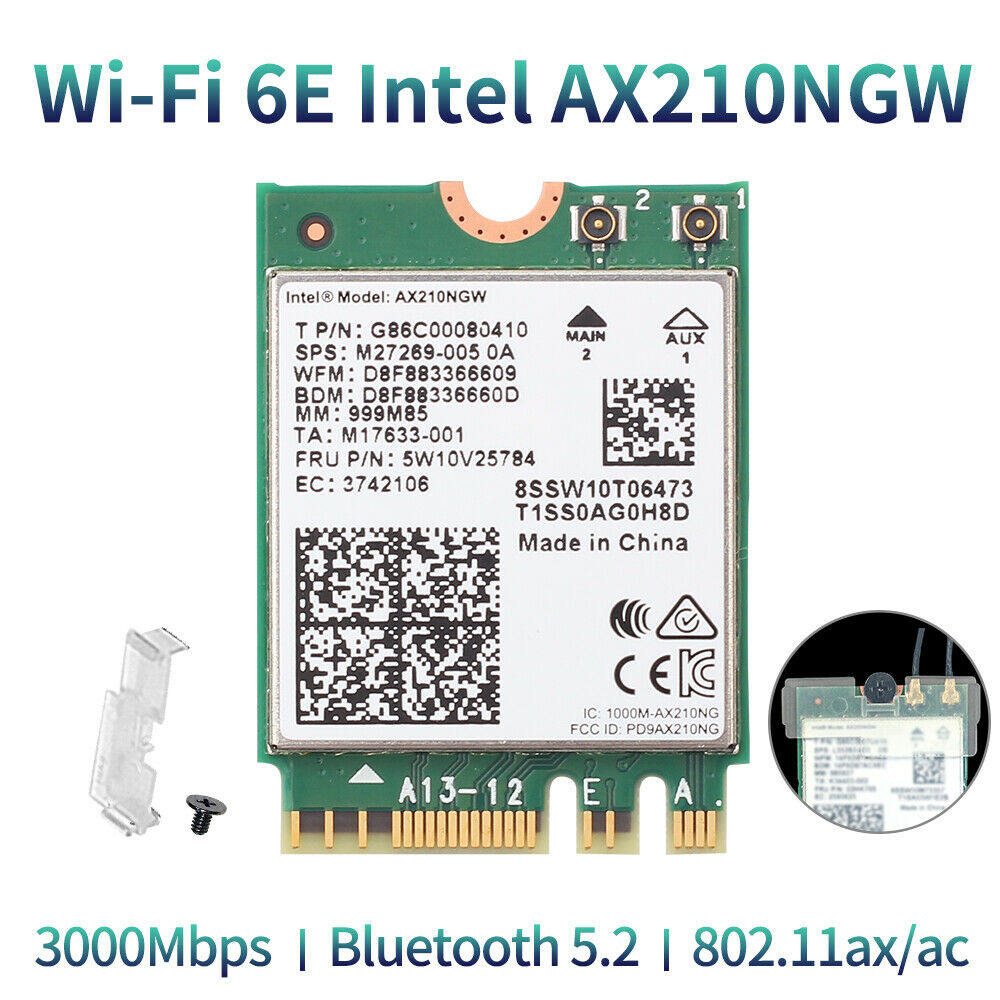 Intel AX210NGW Wifi 6E M.2 NGFF Wireless Card Dual Band 802.11ax PC Network Card