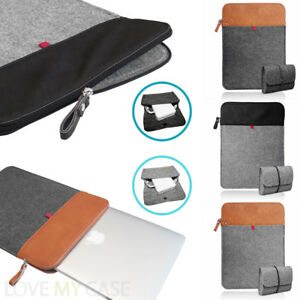 Felt-amp-Leather-ZIP-Sleeve-Case-Cover-with-Mouse-Charger-Pouch-Bag-for-MacBook