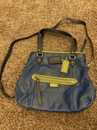 coach crossbody leather bag Blue With Green