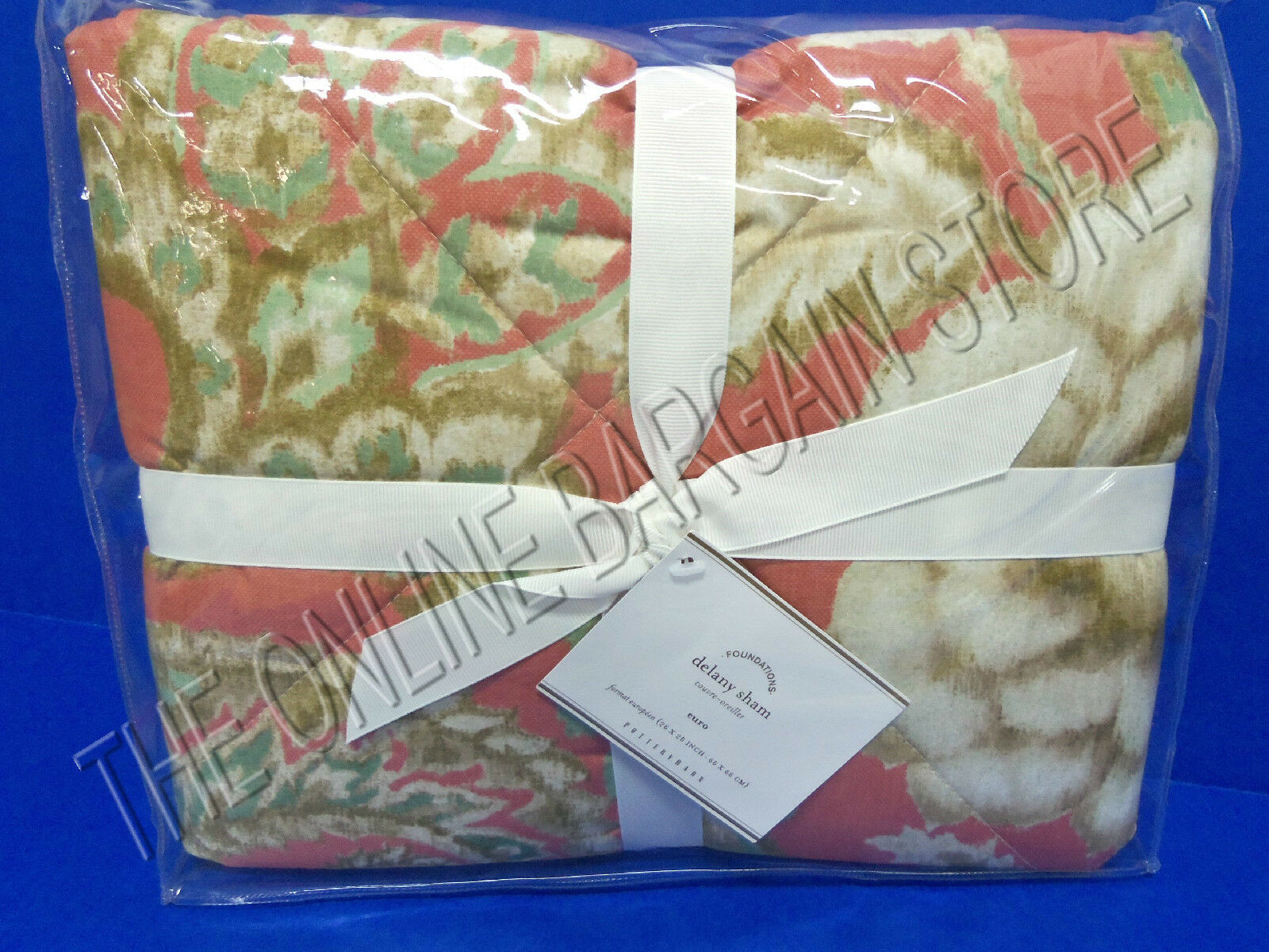 Pottery Barn Delany Quilted Bed Pillow Sham Euro Square Terracotta Floral pinks