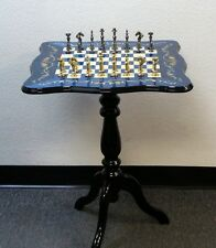 Chess Table With 3 Inch Brass Capped Men On Beautiful Blue Floral Inlay