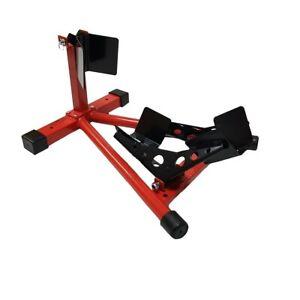 CRUIZER-Blocca-Ruota-Moto-Trasporto-Wheel-Chock-Metallo-Rosso-Carrello-Viaggio