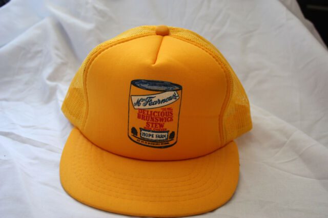 Vintage 80s 90s Yellow Adjustable Snapback Mesh Foam Trucker Hat Cap ... b3ecba8b42be