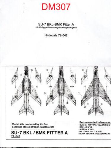 Decal -  SU-7 BKL-BMK Fitter A - Hi-decals 72-042 - ( Ref DM307)