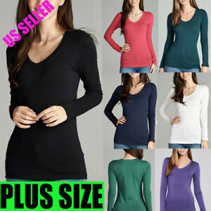 66d40ef3a037 PLUS Women Long Sleeve V-NECK T-Shirt Layering Stretch Active Basic ...