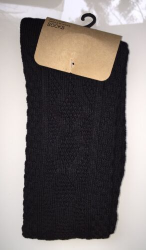 Black Size 4-7 Urban Outfitters Chunky Pattern Over The Knee Socks RRP £10