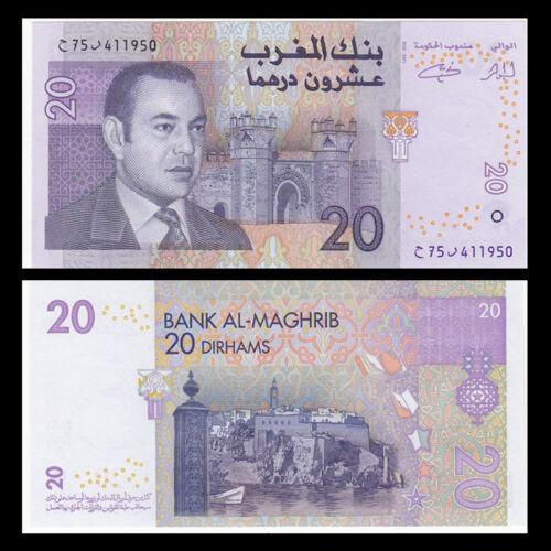 2005 P-68 banknote UNC Morocco 20 Dirhams