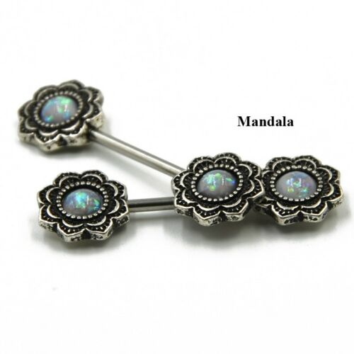 Synthéthiques Opal Mandala Tournesol Acier chirurgical mamelon Piercing Ring Barbell Bar